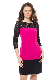 ELIZA J Lace Top Colorblock Dress