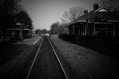 """Photo by Maverick. Depot-  """"The locomotives are black. The coal is black. The tracks are black.  The night is black. So what am I going to do with color?"""" -- O. Winston Link"""