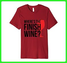 Mens Where's The Finish Wine? Workout T-Shirt XL Cranberry - Food and drink shirts (*Amazon Partner-Link)