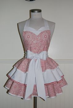 Red and White 3 Tier Circle Skirt Full Apron with Sweetheart Neckline by CRACKERJACK COUNTY via Etsy.