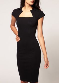 Solid Black Square Collar Woman Knee Length Dress