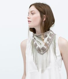 ZARA - WOMAN - FRINGED EMBROIDERED SCARF