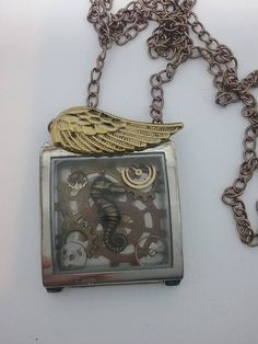 Steampunk Necklace Steampunk Shadowbox Necklace Seahorse and