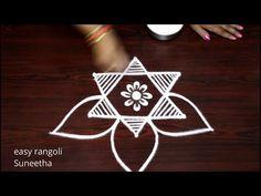 Small & Beautiful rangoli kolam designs by easy rangoli Suneetha || easy muggulu - YouTube Easy Rangoli Designs Diwali, Rangoli Designs Latest, Simple Rangoli, Rangoli Borders, Padi Kolam, Special Rangoli, Free Hand Rangoli, Rangoli With Dots, Diwali Festival