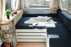 DIY bed design instructions for a campervan! These #vanlife hacks will show you how to cut a bed mattress to size. It's the perfect fit for a van living interior. Find the perfect layout for your bathroom, kitchen and living area. Fit it all together with storage and organizational space. Follow these van life hacks and advice to build your own diy campervan conversion!
