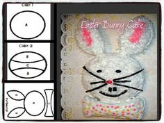 Easter Bunny Cake Ingredients: 2 round cakes, cooled (Your choice of flavor) tubs vanilla icing 1 package Coconut flakes Red food color. German Bee Sting Cake, Easter Bunny Cake, Rabbit Cake, Candy Sprinkles, Vanilla Icing, Different Cakes, Easter Recipes, Easter Ideas, Food Themes