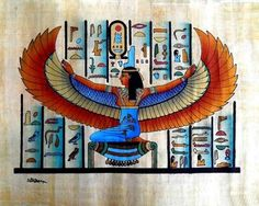Egyptian Papyrus Paintings,Winged Goddess Isis - Buy Egyptian ...