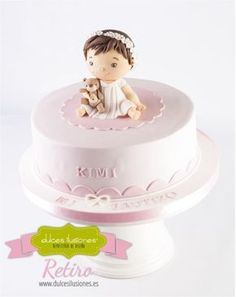 Baby Baptism Cake - Cake by Dulces Ilusiones Christening Cake Girls, Baby Baptism, Pretty Cakes, Cute Cakes, Bolo Minion, Torta Baby Shower, Baby Birthday Cakes, Communion Cakes, Girl Cakes