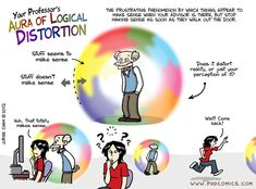 """""""Your Professor's Aura of Logical Distortion"""" – Piled Higher & Deeper Comics by cartoonist and roboticist Jorge Cham Academic Vocabulary, Academic Writing, Thesis Writing, Grad School Problems, Phd Humor, Phd Comics, Grammar Jokes, 21st Century Learning, Phd Student"""