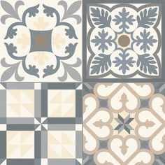Heritage - Grey: One of Waxman Ceramics newest and most contemporary ranges, the… Watercolor Illustration, Floral Watercolor, Tile Design, Layout Design, Patchwork Tiles, Spanish Tile, Wall And Floor Tiles, Tile Art, Tile Patterns