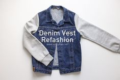 Denim Vest Refashion by diyclothes.net Denim Jacket With Hoodie, Vest, Sewing Clothes, Diy Clothes, Diy Tops, Sweater Refashion, Cotton Sweater, Cotton Thread, Two Pieces