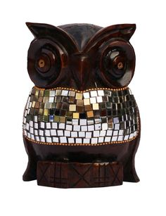 """Bulk Wholesale Hand-Carved 6"""" Eucalyptus Wood Sculpture / Statue of Owl Enhanced with Traditional Style Golden Beads & Mirrors – Antique-Look Home Décor from India"""