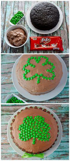 YUM!! Kit Kat Shamrock Cake for a St. Patrick's Day dessert! Green m&m's make the shape! #Clover