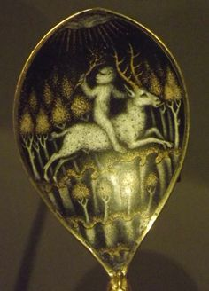 Medieval spoon with monkey and stag. Victoria and Albert Museum, London.