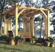 These outdoor garden gazebo plans provide all of the details to build a gazebo. A garden gazebo can be used for outdoor dining in the garden, backyard luncheons, reading, and for just plain relaxing. Outdoor Rooms, Outdoor Gardens, Outdoor Living, Diy Pergola, Pergola Ideas, Pergola Swing, Cheap Pergola, Patio Ideas, Backyard Ideas