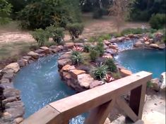 Garden and Patio, DIY Backyard Natural Lazy River With Stone Liner And Small Garden Ideas ~ Backyard Lazy River Above Ground Pool Landscaping, Small Backyard Landscaping, Landscaping With Rocks, Backyard Ideas, Pool Ideas, Outdoor Ideas, Backyard Lazy River, Lazy River Pool, Kayak Pools