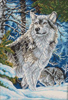 """Купить Схема для вышивания бисером с полным зашивом """"Волк в горах"""" - схема вышивки волк"""
