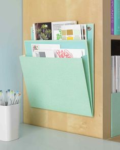 Def need to run to Staples for these! Martha Stewart suggests using pocket folders to keep clutter and important documents in a special place. The hanging folders also come in an elegant, textured finish. Martha Stewart Home, Diy Inspiration, Ideas Para Organizar, Home Office Organization, Folder Organization, Organization Ideas, Storage Hacks, Storage Solutions, Minimalist Kitchen