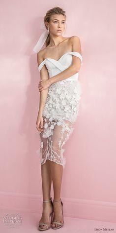 liron meyzan 2018 bridal off the shoulder sweetheart neckline wrap over bodice embellished skirt romantic short wedding dress (6) mv -- Liron Meyzan 2018 Wedding Dresses