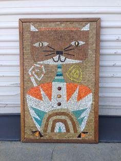 Mid century mosaic cat wall art
