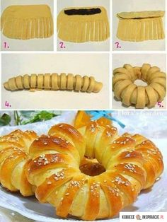 Brioche bread filled with jam Art Du Pain, Bread Shaping, Bread Art, Food Decoration, Bread And Pastries, Sweet Bread, Creative Food, Food Art, Sweet Recipes