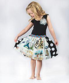 Black Paris Flower Top & Skirt - Toddler & Girls