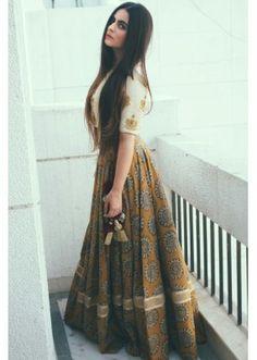 Bollywood Replica - Party Wear Dark Beige & White Crop Top Lehenga  - DA11