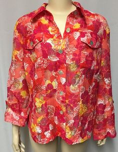 Ruby Rd. Jacket 18W Plus Floral Sheer Burnout Leaves Pink Orange Top Shirt #RubyRdFavorites #ButtonDownShirt #Casual