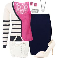 Navy & Pink office by hramabile on Polyvore