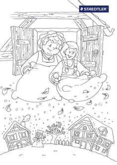 vrouw holle grimm - Google zoeken Coloring Pages For Grown Ups, Coloring Pages For Kids, Coloring Books, Free Printable Coloring Pages, Free Coloring Pages, Cactus Shirt, Winter Project, Rainy Day Activities, Color Stories