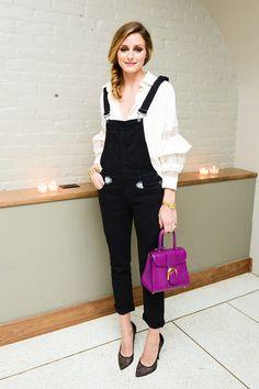 Olivia Palermo: peto negro + camisa blanca