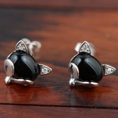 GZ Natural Black Agate Stud Earring 925 Silver Green Stone boucle d'oreille S925 Sterling Silver Earrings for Women Jewelry