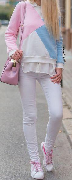 Color Block Long Sleeve Sweatshirt