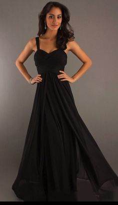 custom made with straps floor-length chiffon bridesmaid dress in my colors of course. Not death black