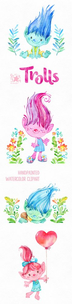 This Magical Clipart set with Trolls is just what you needed for the perfect invitations, craft projects, paper products, party decorations, printable, greetings cards, posters, stationery, planners, scrapbooking, stickers, t-shirts, baby clothes, web designs and much more.  :::::: DETAILS ::::::  This collection includes: - 37 Images in separate PNG files, transparent background, different size: 12-2in (3600-600px)  300 dpi, RGB  ::::: TERMS OF USE :::::  ► Personal or non-profit  You can…