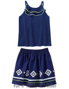 NWT Gymboree BLUE SAFARI Girls Size 8 10 Geo Skirt & Pom Pom Tank Top 2-PC SET #Gymboree #DressyEveryday