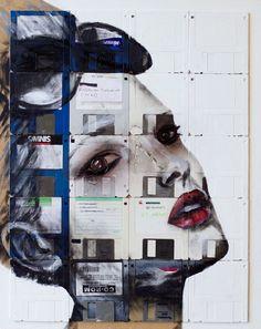 Portrait Paintings Across Rows of Floppy Disks - My Modern Metropolis