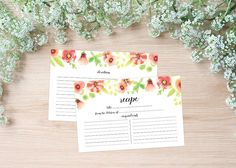 Floral watercolor recipe cards, perfect for a bridal shower or as a gift - by Watercolor Paperie on Etsy