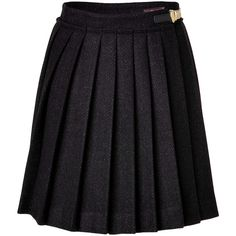 MULBERRY The Polly Push Lock Black Herringbone Wool Skirt ($465)