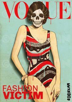 Vogue - Fashion Victim Cover by ~roberlan Crane, Madonna, Riot Grrrl, Illustrations, Skull And Bones, Memento Mori, Skull Art, Digital Illustration, Retro Fashion