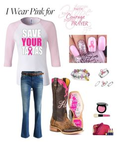 """I Wear Pink for Hope,faith,courage, awareness, cure,support,love"" by im-karla-with-a-k on Polyvore featuring Bling Jewelry and Bobbi Brown Cosmetics"