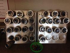Classroom earbud storage bins using magnetic spice rack Robot Classroom, Classroom Design, Classroom Themes, Future Classroom, Ipad Storage, Storage Bins, Kitchen Storage, Storage Solutions, Teacher Organization