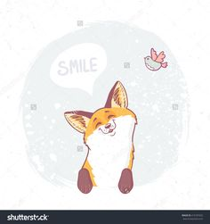 Cute and funny cartoon beautiful fox with place for text in cloud. Character happy fox. Vector illustration
