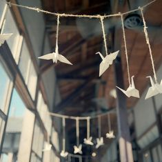 Origami cranes. I hadn't thought of hanging them this way, spanning across a space on one string. Hmmm. Clever. Less fiddly to hang than individual strings or making a mobile.