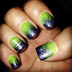 Seahawks football ombré nails
