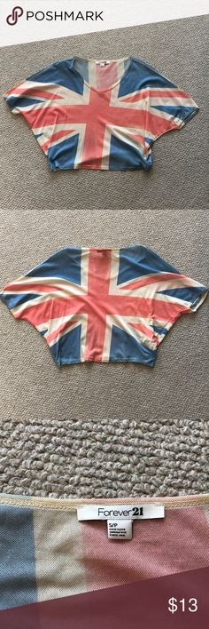 Forever21 Small Union Jack Top🇬🇧accepting offers This is a Forever 21 Small Top 💙 It's decorated with the Union Jack 🇬🇧 never worn, perfect condition! Great for layering! Forever 21 Tops Blouses