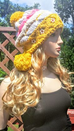Yellow Wool Knitted Beanie Boho Cap Slouch by TheBuenaVistaGallery