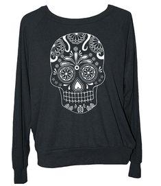 Womens SUGAR SKULL sweatshirt  american apparel S by skipnwhistle, $29.00