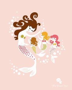 Available for preorder: Mermaid Mother and three children custom giclee print on fine art paper