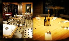 Black and white cement tiles restaurant floor #mosaicdelsur #cementtiles